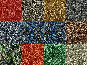 50g glass Twisted Bugle beads - approx 6mm tubes - choice of colours, craft