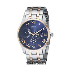 NEW GUESS WATCH for Men * Blue Dial * Two Tone Rose Gold/Silver Bracelet U0607G2