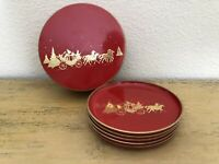 Vintage Otagiri Christmas Coasters Set Of 5 Holder Red Gold Stagecoach In Winter