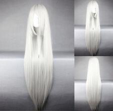 Graue glatte lange Perücken & Haarteile aus Echthaar-Kunst
