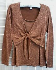 Women's NOTATIONS Brown W/Gold Glitter Top W/Front Panels That Tie