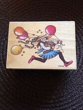 Vintage Mary Engelbreit Rubber Stamp Running With Balloons You Take The Cake New