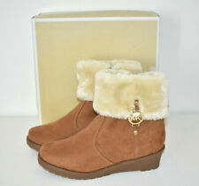 Michael Kors Faux Fur Suede Booties Ankle Boots Size 5 'Wendy' Beige Tan NEW