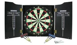 Practice Your Aim With Winmau Home Double Sided Dartboard, Cabinet and Darts Set