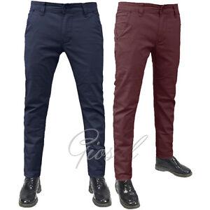Pantalone Uomo Modello Tasca America Chino Cotone Elastico Colori Vari