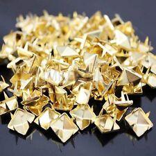 100 x Metal pyramid gold studs 9mm stud Rivet Punk spike spots Diy