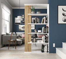 White/Oak Tall Aida 5 Tier Bookcase Storage Unit Room Divider Melamine
