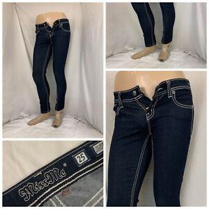 """Miss Me Jeans Sz 25 Dark Easy Skinny Cotton Stretch 28"""" Inseam LNWOT YGI U1-55"""