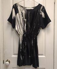 REISS RADVANYI Black Silk Dress Size 10 - Tshirt White Watercolour Pattern FAT