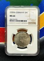 NGC MS 64 1939 A  5 Mark WW2 German Silver Coin Third Reich Swastika Reichsmark