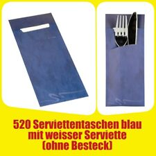 520 Bestecktaschen 20 cm x 8,5 cm blau inkl. wei�Ÿer Serviette