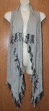 Womens Light Gray Colour Works Fringed Sweater Vest Size Large excellent