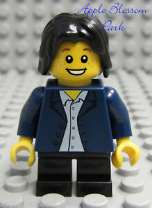 NEW Lego City MINIFIG BOY -Dark Blue White Shirt Torso w/Black Hair & Short Legs