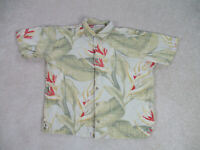 Tommy Bahama Button Up Shirt Adult Extra Large Green Red Silk Camp Casual Mens *