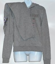 Victoria's Secret Pink Bling Sequin Full Zip Hoodie & Signature Fit Pant XS NWT