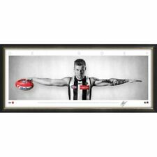 JORDAN DE GOEY COLLINGWOOD MAGPIES SIGNED FRAMED AFL POSTER PRINT