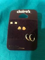 Three Pairs Of Claire's Sterling Silver Earrings New Original Retail Is $24.99