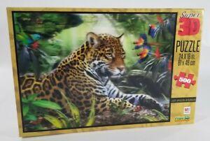 Milton Bradley Puzzle 500 pc Super 3D LAZY AMAZON AFTERNOON Cat Leopard Jungle