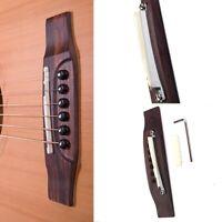 Rosewood Guitar Bridge Adjustable Shaft Saddle Nut Set For Folk Acoustic Guitar