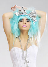 Womens Deluxe 80s Aqua Blue Wig with Bow
