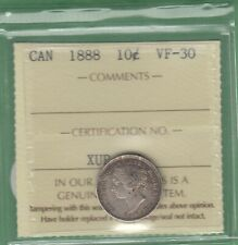 1888 Canada 10 Cents Silver Coin - ICCS Graded VF-30