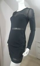 Material Girl NWT Mesh Illusion Bodycon Dress Long Sleeve Size M Black MSRP $59
