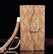Michael Kors Trifold Wallet Case fits iPhone 7 Plus or iPhone 8 Plus- Tan/Beige