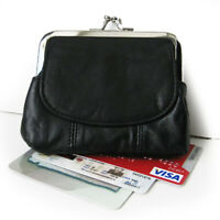 Black Genuine Leather Clasp Coin Women Purse Credit Card ID Flap Open Holder