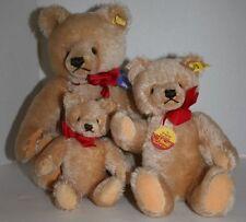 "Lot 3 Steiff Original Teddy Bears Beige Mohair Jointed 7"" 10"" 14"" 0201/36"