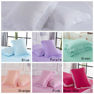 2X Pillowcase Lace Ruffle Pillow Slips Bed Covering Beding 48X74cm Gift Solid