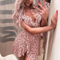 Fashion Polka Dots High Waist Short Sleeve V-Neck Ruffle Sundress Party Dress