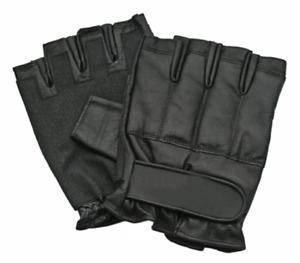Black Leather SAP Fingerless Gloves Self Defense - New - Sizes M , L , XL  , XXL