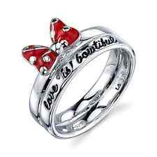 DISNEY MINNIE MOUSE STERLING SILVER 'LOVE IS BOWTIFUL' RED ENAMEL  BAND RING 8