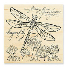 STAMPENDOUS RUBBER STAMPS DRAGONFLY WINGS NEW WOOD STAMP