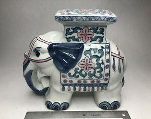 Blue & White Ceramic Elephant Plant Stand / SideTable / Garden Stool HandPainted