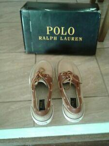 NWB Ralph Lauren Polo  men's shoe, canvas Leather beige/caramel size 11.5D Reg.