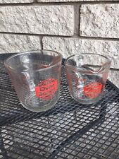 """Vintage Anchor Hocking Oven Basics 1 & 2 Cup Measuring Cups Both """"D"""" Handle Red"""