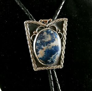 Sterling Silver Blue Lace Bolo Tie with Braided Leather Cord (#202)