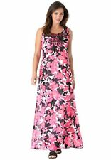 Jessica London Pink Black Floral Sleeveless A-Line Long Beaded Necklace Dress