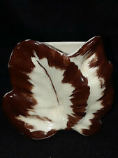 Small Vintage Brown and White Leaf Wall Pocket
