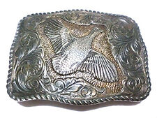 "3"" EDDIE BAUER THICK 22K GOLD ON STERLING SILVER SOUTHWESTERN BIRD BELT BUCKLE"