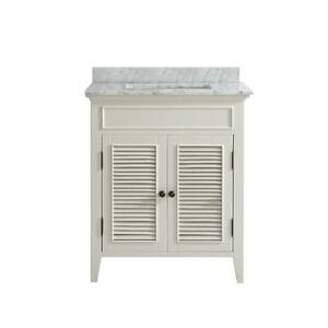 30 inch Belvedere Traditional Freestanding White Bathroom Vanity with Marble Top