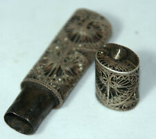 ORIGINAL ANTIQUE c1850 ~~ VICTORIAN SILVER SEWING Filigree NEEDLE CASE~~GoRgEoUs