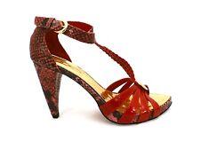 Designer Stiletto High Heels Gracienne Womens  9 Red Gold Snake Skin NIB Leather