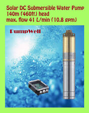 Solar DC Submersible Water Pump max. lift 140m 460ft deep well lake irrigation