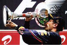Sebastian Vettel SIGNED AUTOGRAPH F1 World Champion Podium 12x8 Photo AFTAL COA