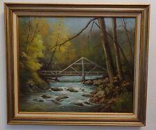 VTG N. Pratt Framed Painting Original School Wood Bridge Signed ORegon Covered