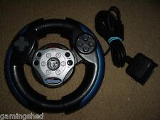 SONY PLAYSTATION 2 PS2 STEERING WHEEL CONTROLLER Black Gamepad Control Game Pad