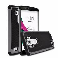 LG G4 Heavy Duty Rubber Dual Layer Impact Shockproof Hybrid Case Cover - Gray