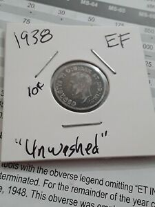 1938 Canada Silver Dime 10 Cents EF